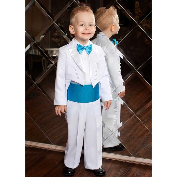 Фрак костюм для мальчика белый с бирюзой 80