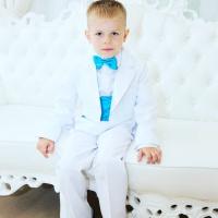 Фрак костюм для мальчика белый с бирюзой