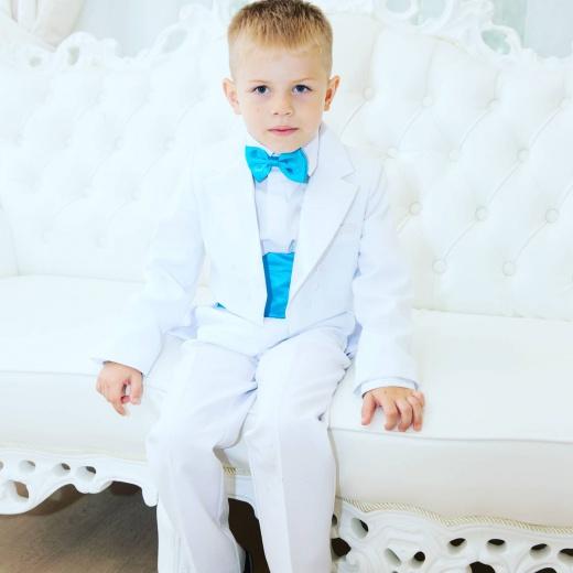 Фрак для мальчика нарядный белый с бирюзой