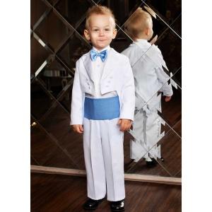 Фрак костюм для мальчика белый с голубым