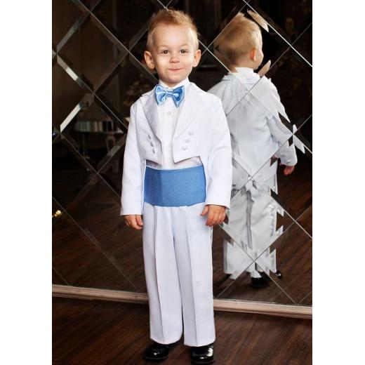 Фрак для мальчика классический белый с голубым