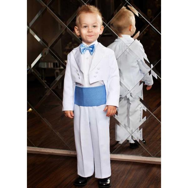 Фрак костюм для мальчика белый с голубым 80