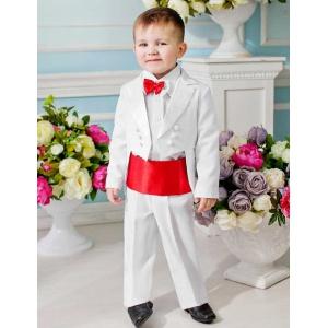 Фрак костюм для мальчика белый с красным