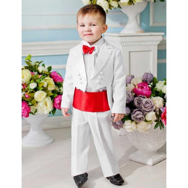 Фрак костюм для мальчика белый с красным 80