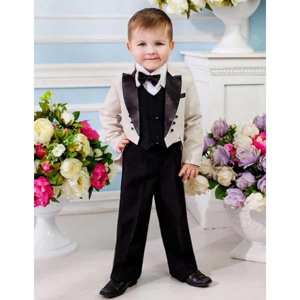 Фрак костюм для мальчика молочный с черным 80