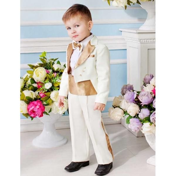 Фрак костюм для мальчика молочный с золотом 80