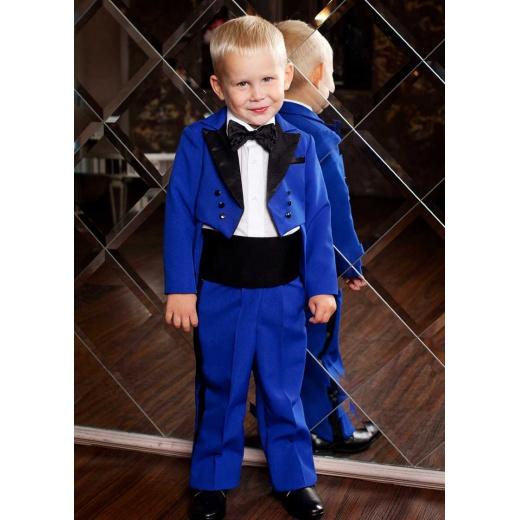 Детский фрак с бабочкой для мальчика синий с черным