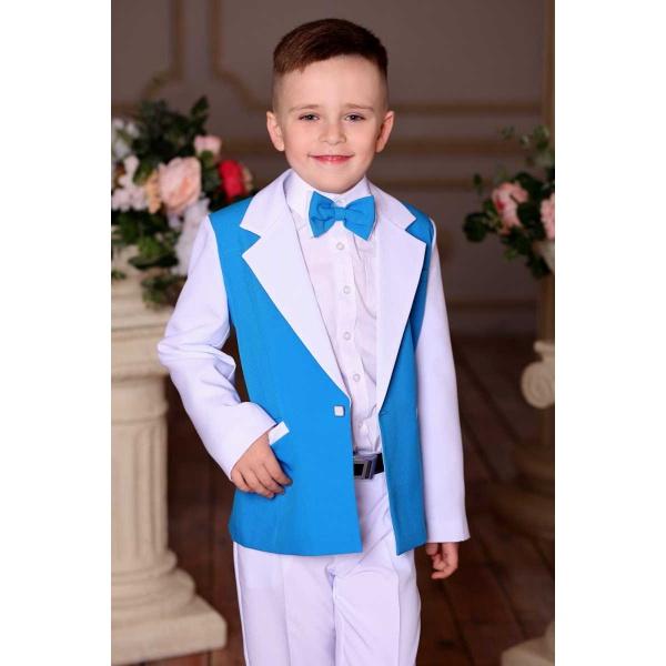 Костюм для мальчика белый с бирюзой 80
