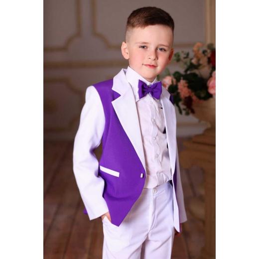 Детский нарядный костюм для мальчика белый с фиолетовым