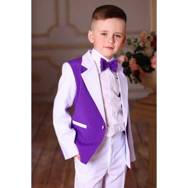 Костюм для мальчика белый с фиолетовым 80