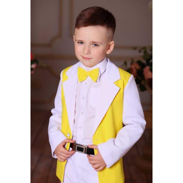 Костюм для мальчика белый с желтым 80
