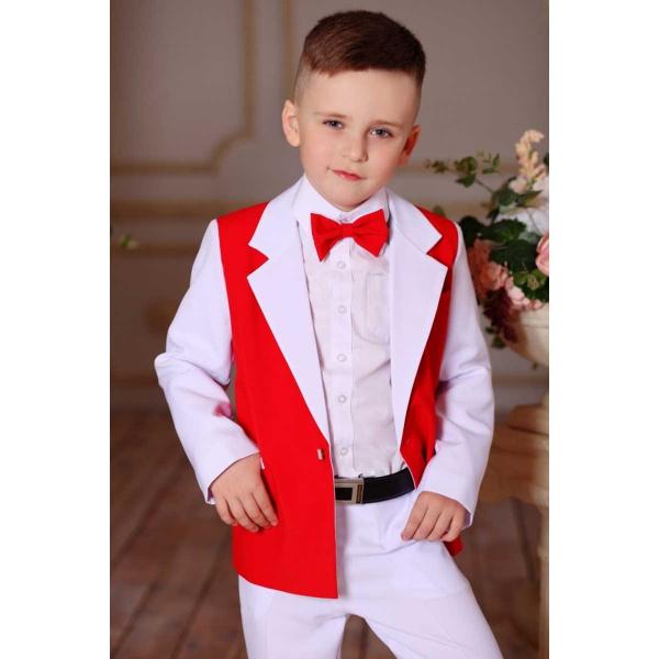 Костюм для мальчика белый с красным 80