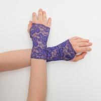 Митенки ажурные темно-фиолетовые