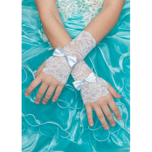 Перчатки митенки детские ажур голубые