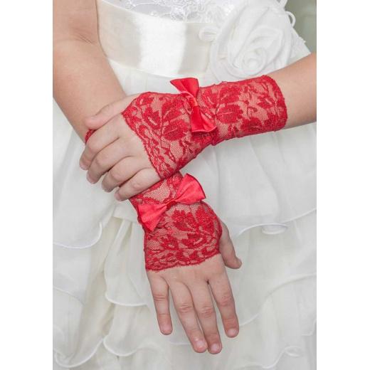 Перчатки митенки ажурные красные для девочки для платья