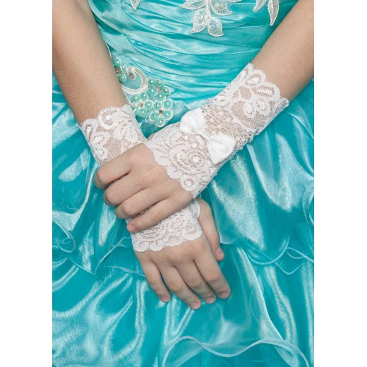 Перчатки митенки кружевные молочные для  нарядного платья для девочки