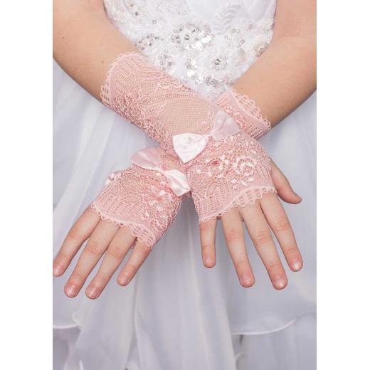 Перчатки митенки розовые ажур для платья без пальцев
