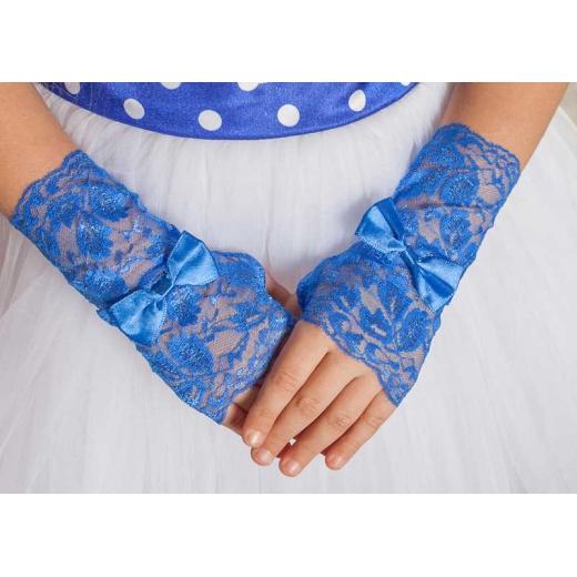 Перчатки митенки ажурные синие к платью для девочки