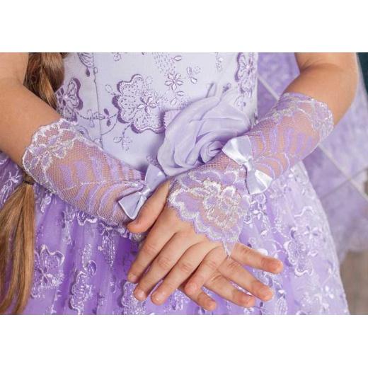 Перчатки митенки детские кружевные сиреневые под платье
