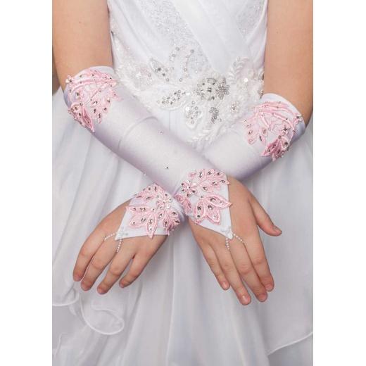 Перчатки митенки детские длинные белые с розовым