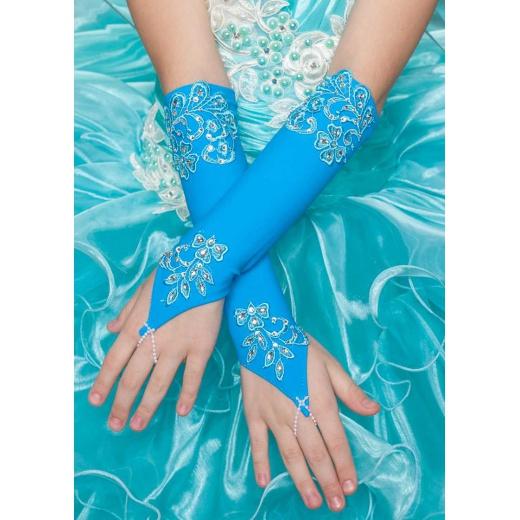 Перчатки митенки для девочки для платья длинные бирюзовые