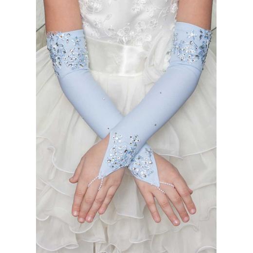 Перчатки митенки для нарядного платья для девочки длинные голубые