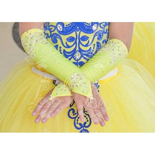 Перчатки митенки без пальцев для платья длинные желтые