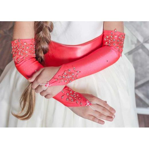 Перчатки митенки детские под платье длинные коралловые