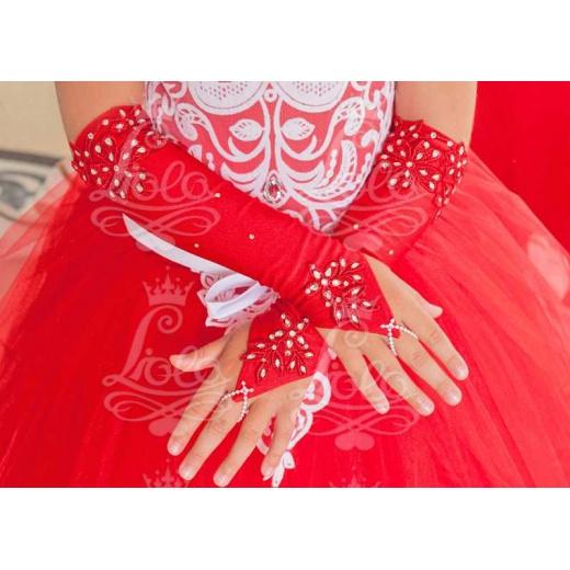 Перчатки под платье для девочки длинные красные