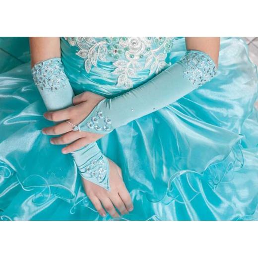 Перчатки митенки детские длинные морская волна