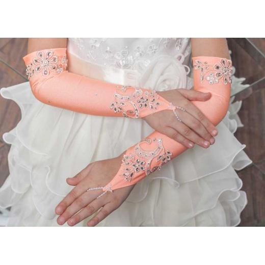 Перчатки митенки для девочки для платья длинные персиковые