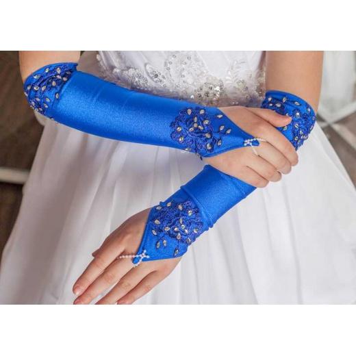 Перчатки митенки для нарядного платья для девочки длинные синие