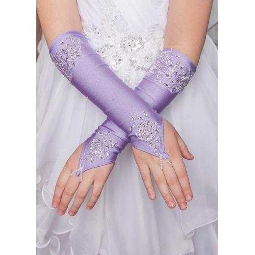 Перчатки митенки без пальцев для платья длинные сиреневые