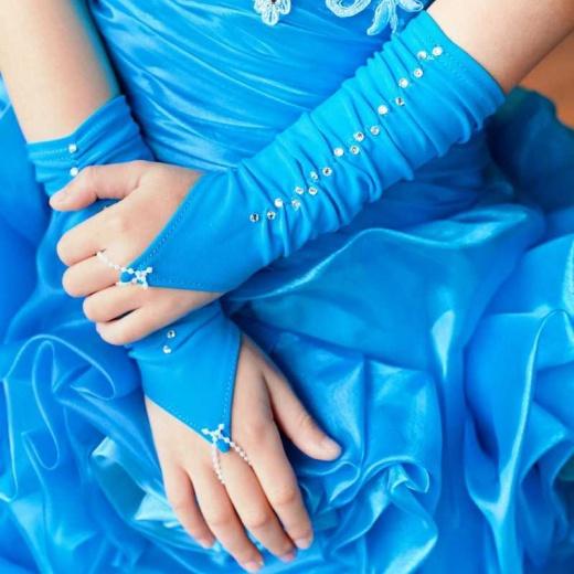 Перчатки митенки для девочки для платья короткие бирюзовые