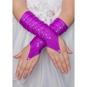 Митенки атласные короткие фиолетовые