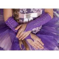 Митенки атласные короткие фиолетовые (темные)