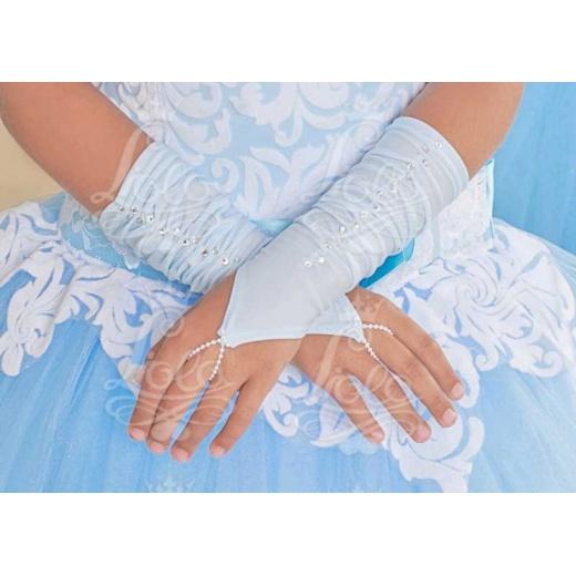 Перчатки митенки для нарядного платья для девочки короткие голубые