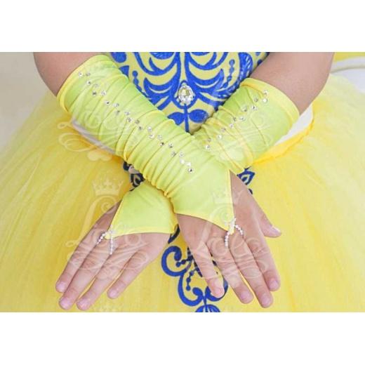 Перчатки митенки без пальцев для платья короткие желтые