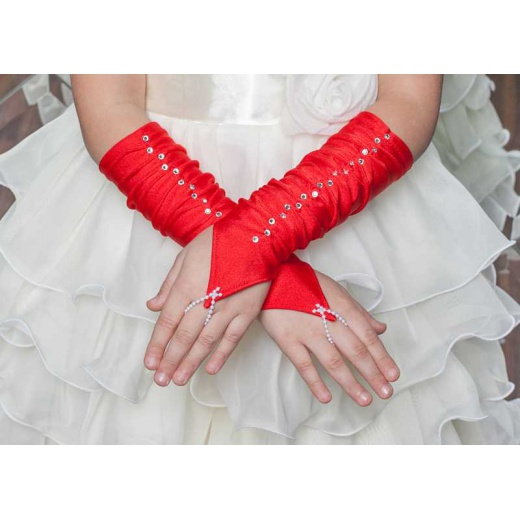 Перчатки под платье для девочки короткие красные