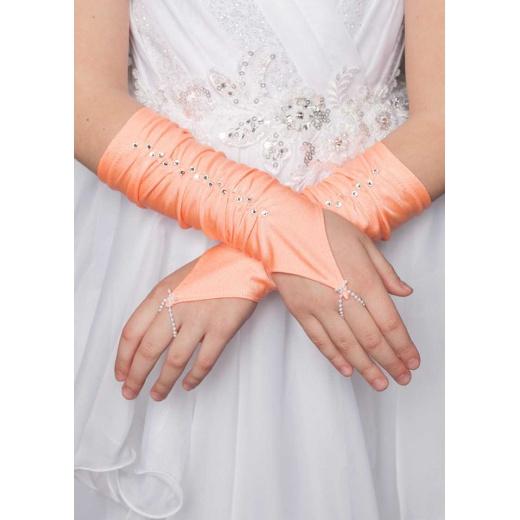 Перчатки митенки для девочки для платья короткие персиковые