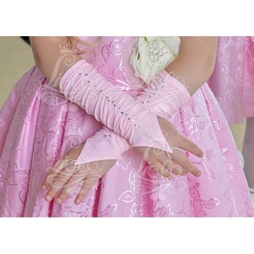 Митенки детские короткие розовые