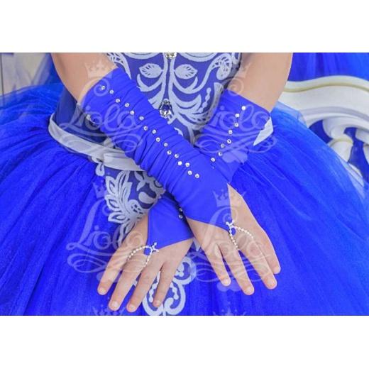 Перчатки митенки для нарядного платья для девочки короткие синие