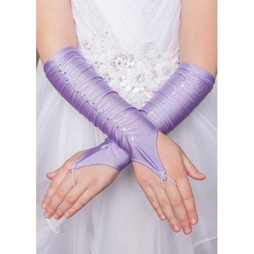 Перчатки митенки без пальцев для платья короткие сиреневые