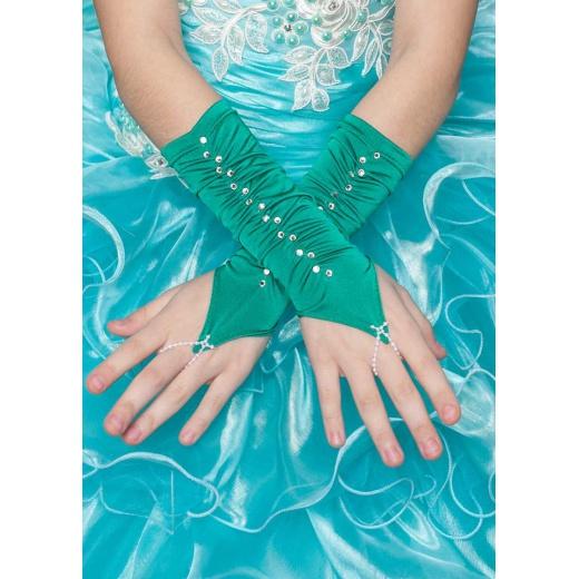 Перчатки митенки к платью для девочки короткие зеленые