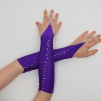 Митенки атласные короткие фиолетовые (яркие)