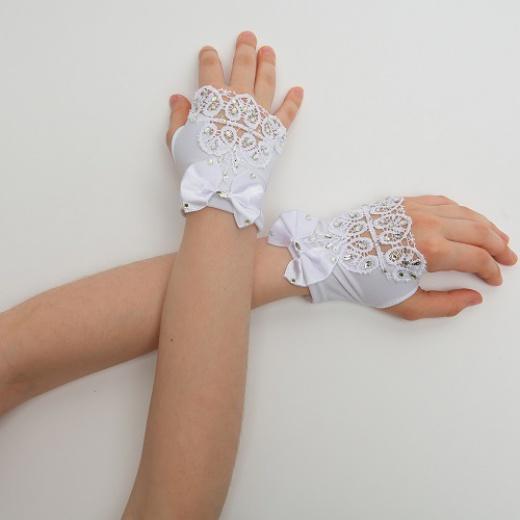 Перчатки митенки к платью для девочки белые мини