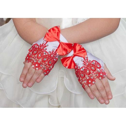 Перчатки митенки белые с красным мини детские под платье