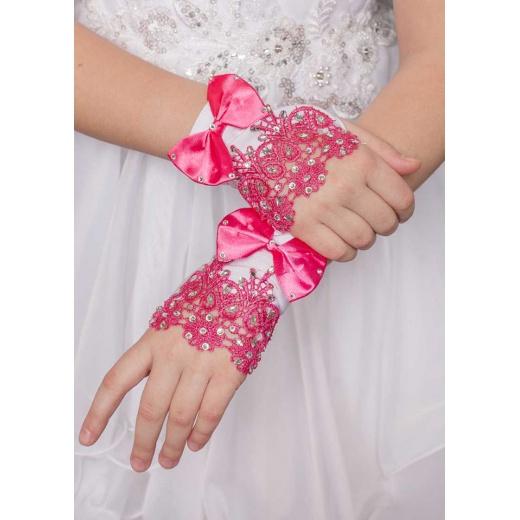 Перчатки под платье белые с малиной мини для девочки