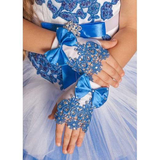 Митенки детские мини белые с синим