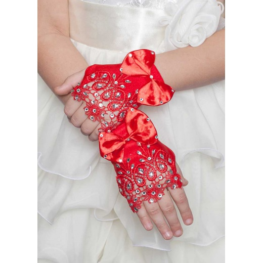 Перчатки митенки детские красные мини